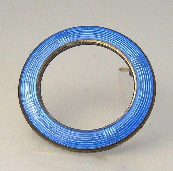 Vintage Aksel Holmsen Norway Sterling Silver Sky Blue Enamel Circle Pin / Brooch #AkselHolmsen