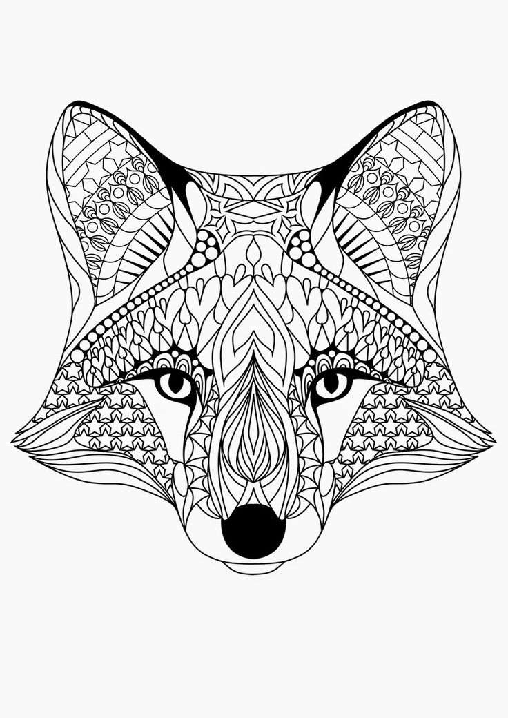☮ American Hippie Art ~ Coloring Pages .. Fox Abstract Doodle Zentangle Coloring pages colouring adult detailed advanced printable Kleuren voor volwassenen coloriage pour adulte anti-stress