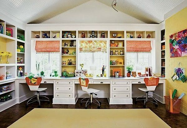 Home School Room Desk Ideas Use A Combination Of Open And Closed Storage For Better Organization Room Organization Home Craft Room Organization