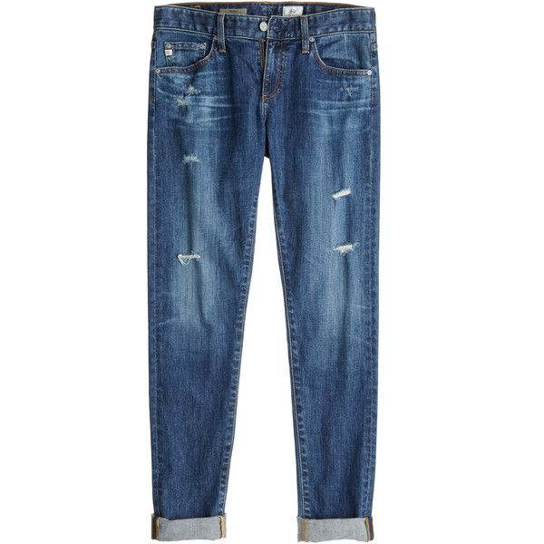 ADRIANO GOLDSCHMIED Nikki 11 Year Distressed Skinny Jean (€170) ❤ liked on Polyvore featuring jeans, pants, bottoms, trousers, blue ripped jeans, distressed jeans, cuffed jeans, cuff jeans and skinny jeans