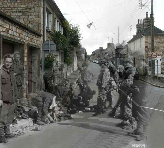 German soldiers surrendering, France, 1944--France, 1944, Rue des Fossés Plissons à Domfront (Orne).
