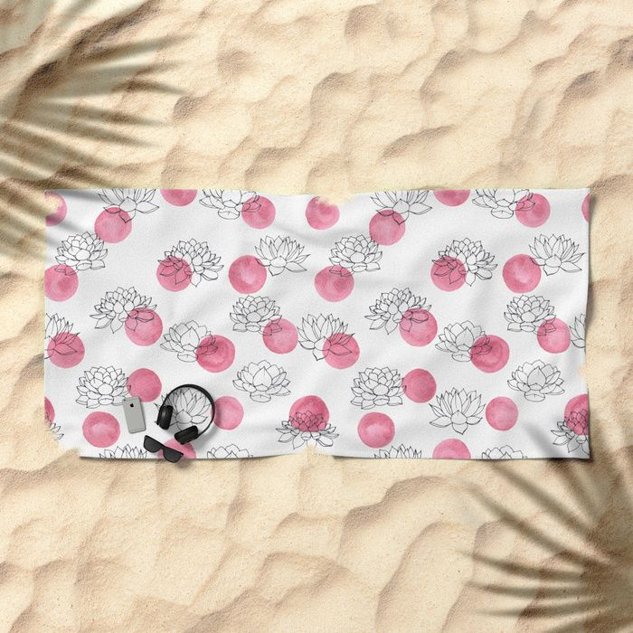 Water Lilies on Watercolor Circles Beach Towel #black #white #polka #dot #flowers #lotus #lilies #lily #color #water #watercolor #pink #vintage #retro #girly #pattern #floral #succulents #plants #drawing #shopping #accessories #society6 #beach #beachtowel #towels #buy
