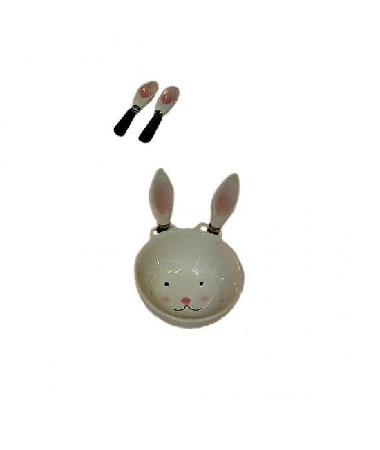 #Bol ceramic cu design tematic, de #Iepuras. In pachet sunt incluse si 2 cutite pentru oua, ce sunt asezate langa bol, ca si urechi simpatice.#cadou #Paste