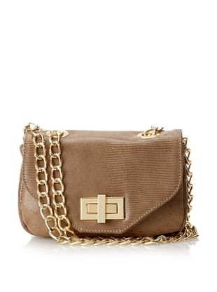 Luciana Verde Women's Nenah Small Flap Cross-Body, Taupe Lizard