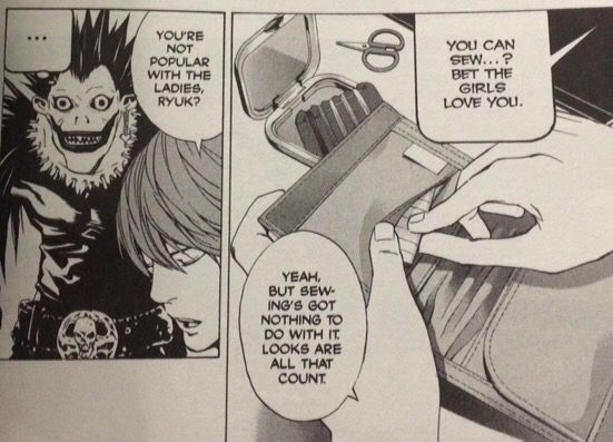 This is a hilarious quote from Death Note that I just HAD to take a picture of! Its my favourite manga ever! XD Make sure you read it from right to left in order to get the joke...