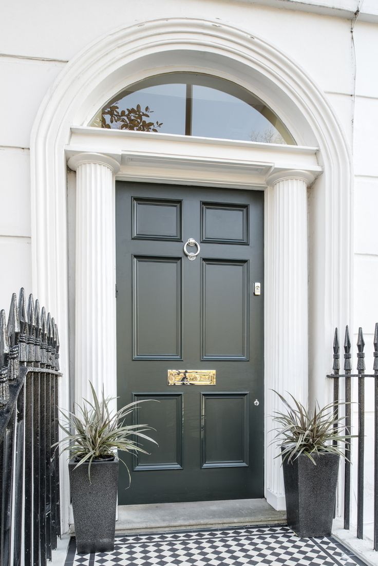 A lovely georgian six panel front door in studio green for Door furniture uk
