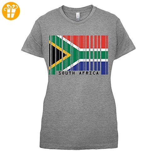 South Africa / Südafrika Barcode Flagge - Damen T-Shirt - Sportlich Grau - S (*Partner-Link)