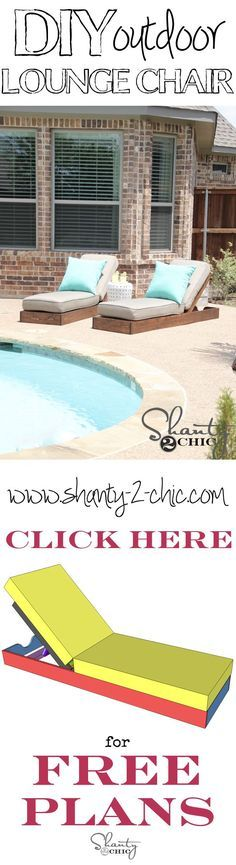 Build your own custom outdoor lounge chairs with free plans from http://shanty-2-chic.com