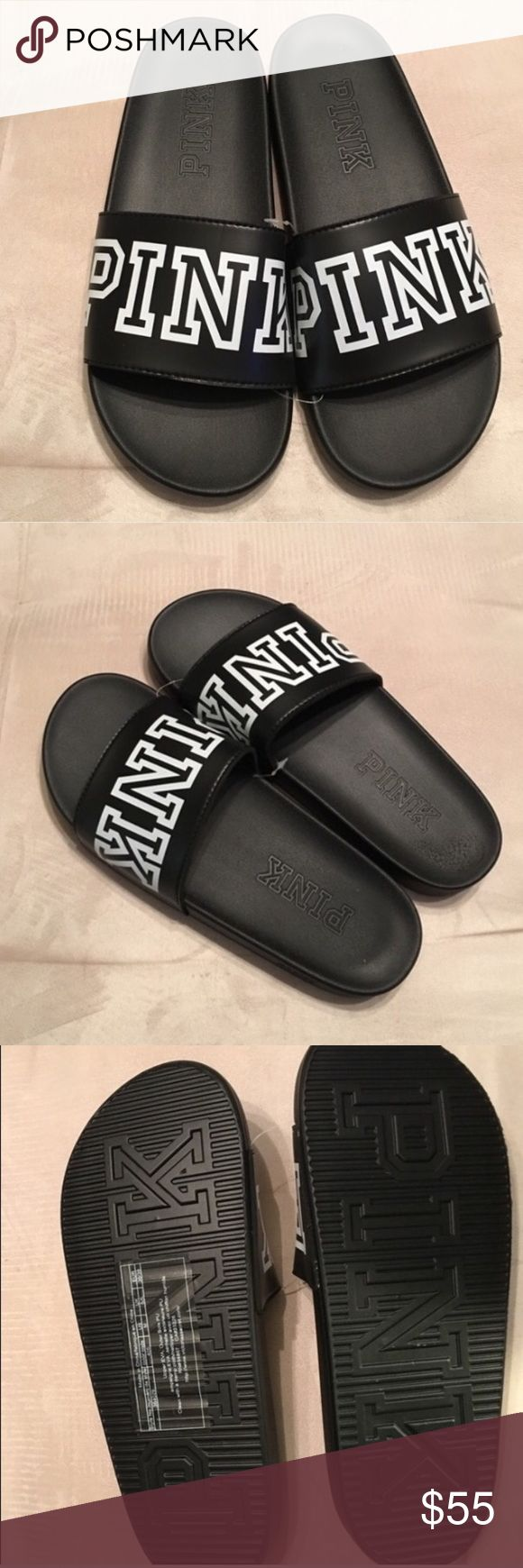 Victoria's Secret pink slides sandals slippers S Victoria's Secret Pink Nation Slides Sandals shoes slippers flip flop slide on. Size Small 5/6 Brand new! Sold out online and in stores! These slides were in high demand and I was only able to get one of these in the Black/white color! Perfect slides for the beach, pool, gym, etc. Don't miss out on these, not everyone can get a pair and you won't regret getting yours! PRICE FIRM THANKS FOR LOOKING, CHECK OUT MY OTHER LISTINGS!(: PINK...