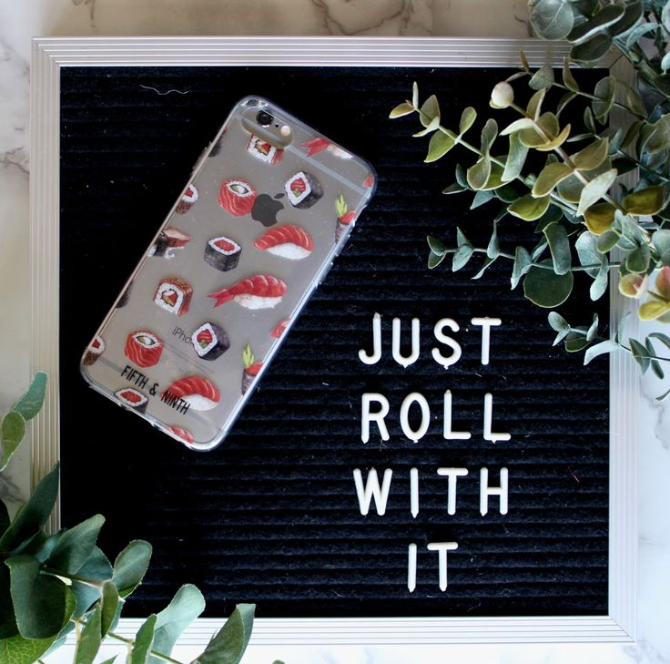 sushi, sushi phone case, sushi phone accessories, fifth and ninth, just roll with it, phone accessories, iPhone accessories, iPhone 7 case, iPhone 8 case, cute phone accessories, cute accessories