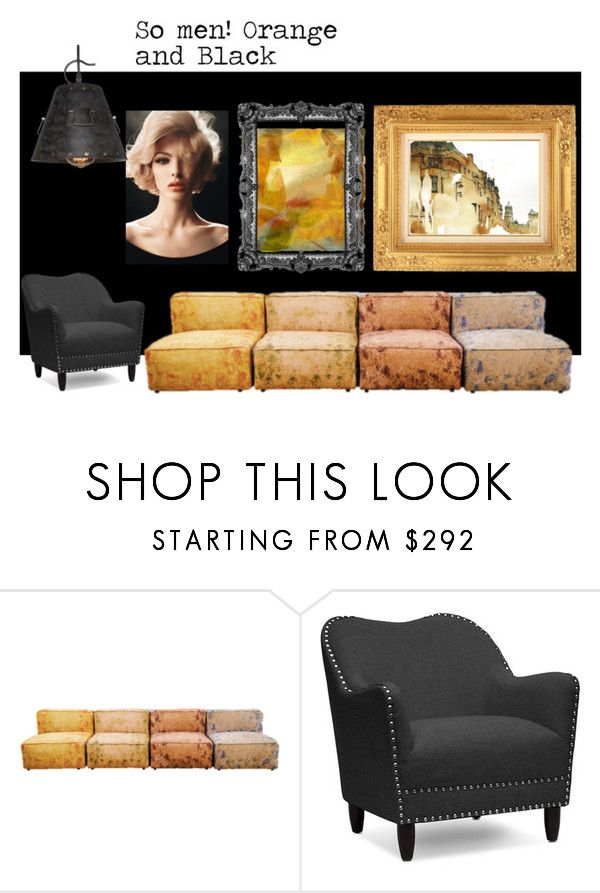 """So men! Black and Orange."" by kropkadesign ❤ liked on Polyvore featuring interior, interiors, interior design, home, home decor, interior decorating and Baxton Studio"