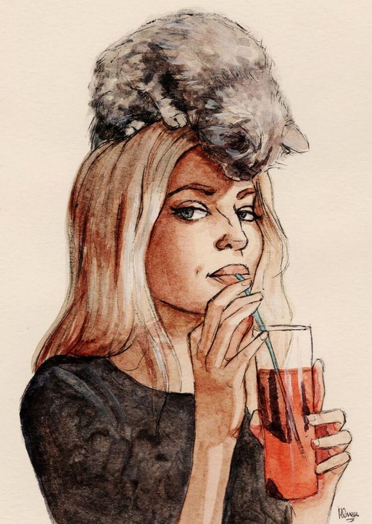 Картинки девушка с вином нарисованные