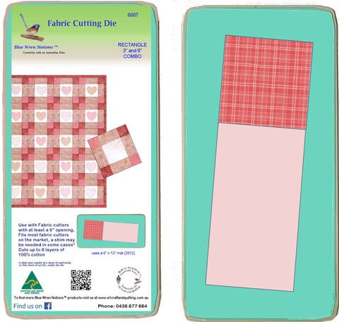 """Rectangle 3"""" x 6"""" and Square 3"""" x 3""""  Combo -  6007 - includes cutting mat"""