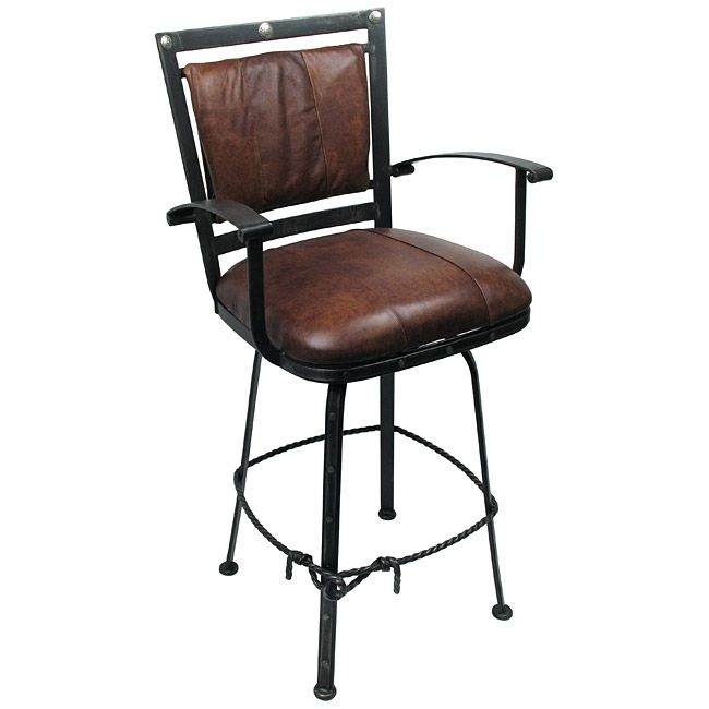 Set Of 2 Lariat Wrought Iron Bar Stools Leather Padded