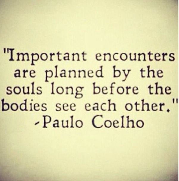 "☼ Important encounters are planned by souls long before the bodies see each other "" ~ Paulo Coelho ☼"