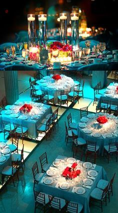 Can change the light from blue to gold & they use round and square tables to have more room... #Tiffany blue & red #wedding reception ... Wedding ideas for brides, grooms, parents & planners ... https://itunes.apple.com/us/app/the-gold-wedding-planner/id498112599?ls=1=8 … plus how to organise an entire wedding, without overspending ♥ The Gold Wedding Planner iPhone App ♥