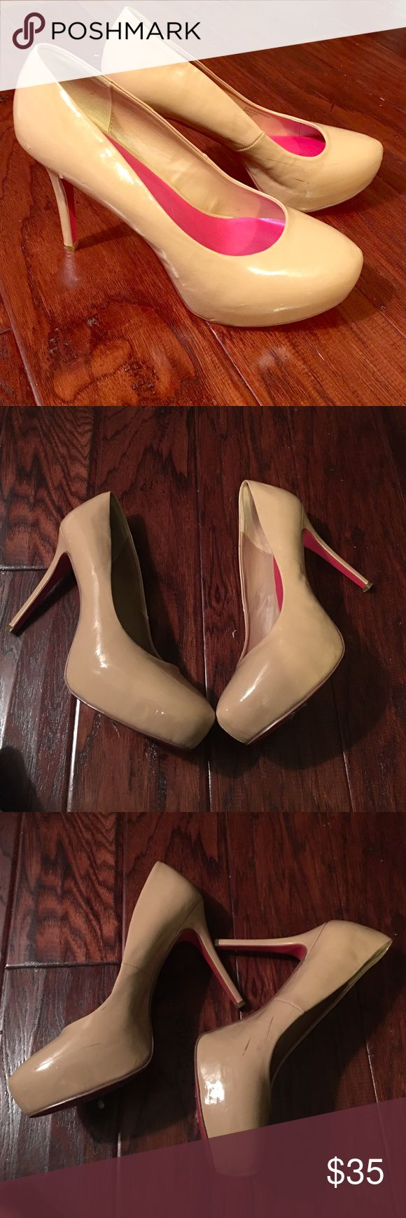 Fergie Nude Pump Nude Patent platform pump...only worn once (minor scuff on inside.. see last photo) Fergie Shoes Platforms