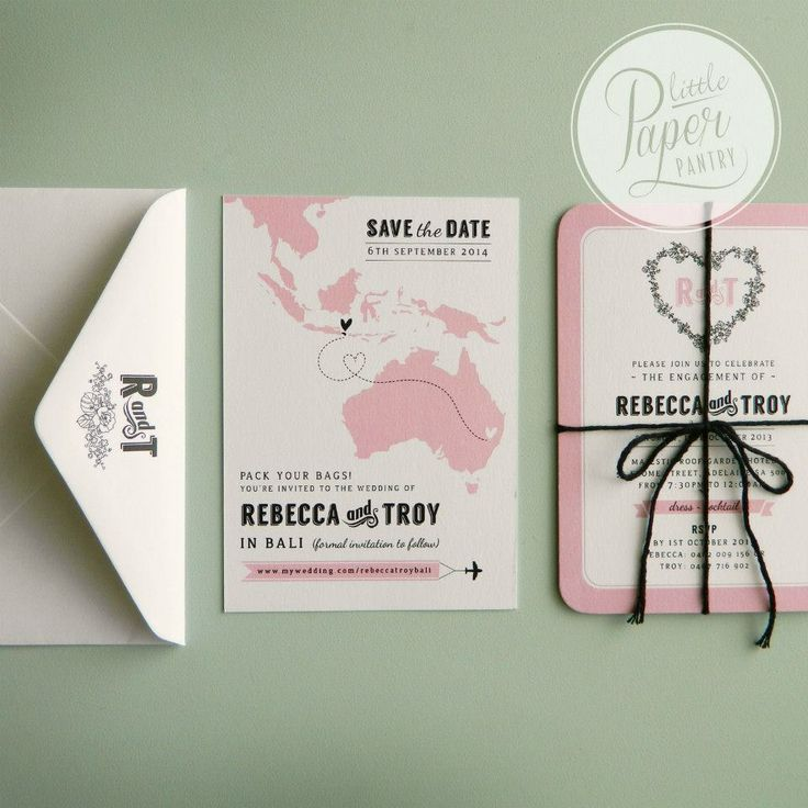 A6 single sided invite with rounded corners and a floral heart card bundled with black bakers twine.