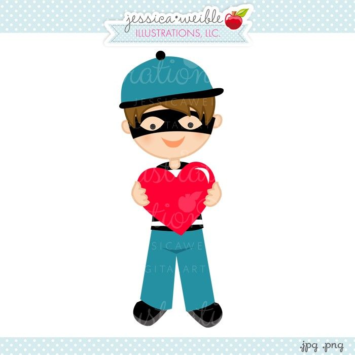 Heart Bandit Boy Clipart - JW Illustrations - cute #valentine clipart ...