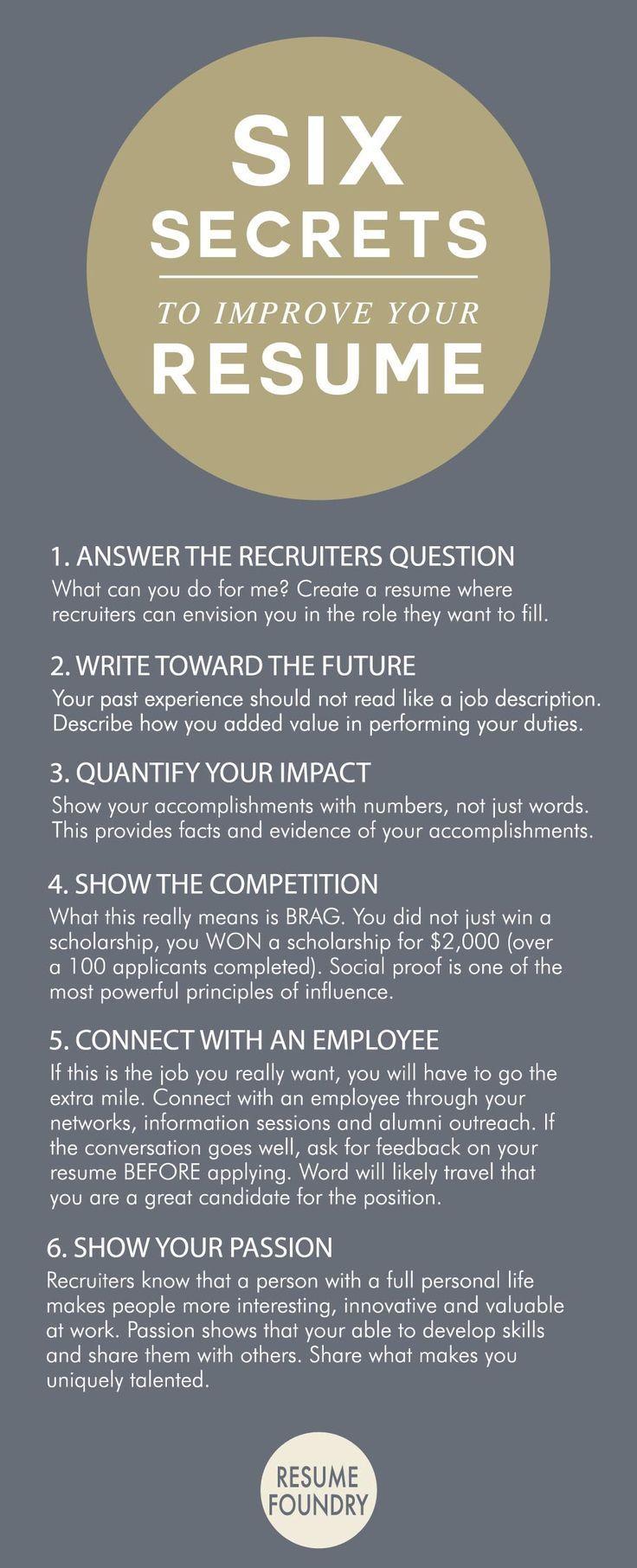 Resume Infographic U0026 Advice Six Amazing Secrets To Improve Your Resume.  Image Description Six Amazing Secrets To Improve Your Resume.