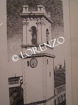 Almansa Torre del Reloj. Dibujo a plumilla sobre papel