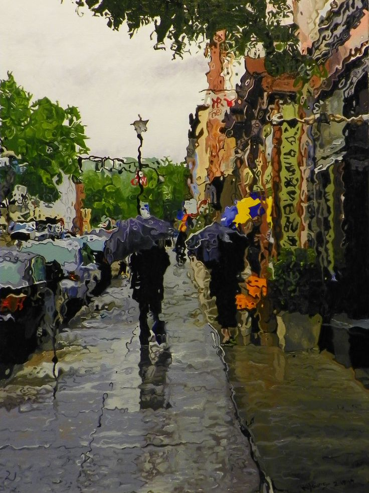 Rain #1 Urban landscape oil painting by Kenneth Young www.kenyoungfineart.com