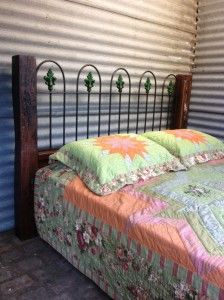 Vintage Cast Iron and Redgum queen size bed