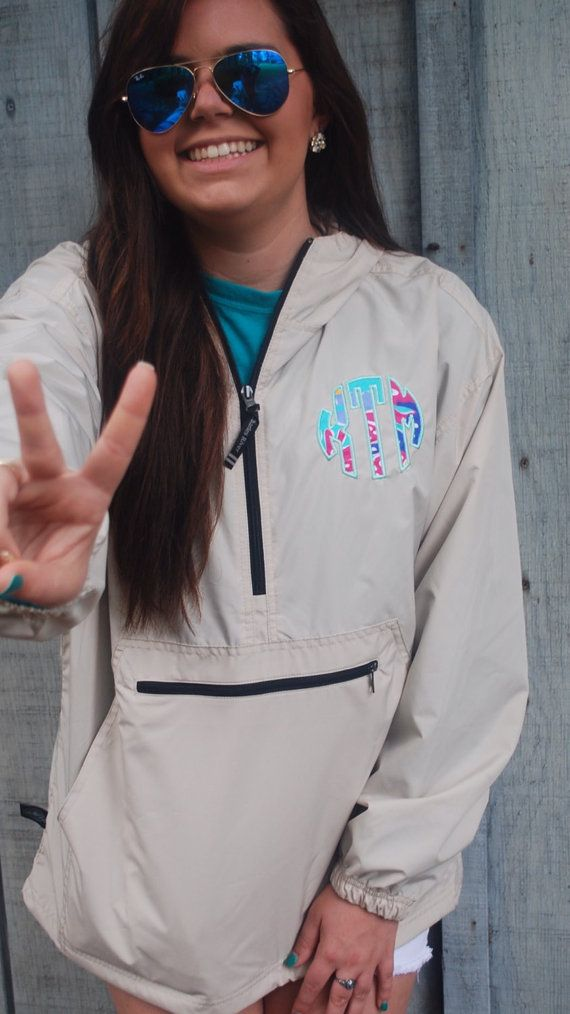 {BACK TO SCHOOL PREPPY} Lilly Pulitzer Monogrammed Pack N Go Pullover by TantrumEmbroidery