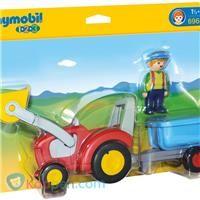 PLAYMOBIL Boer met tractor en aanhangwagen - 6964 -  Koppen.com