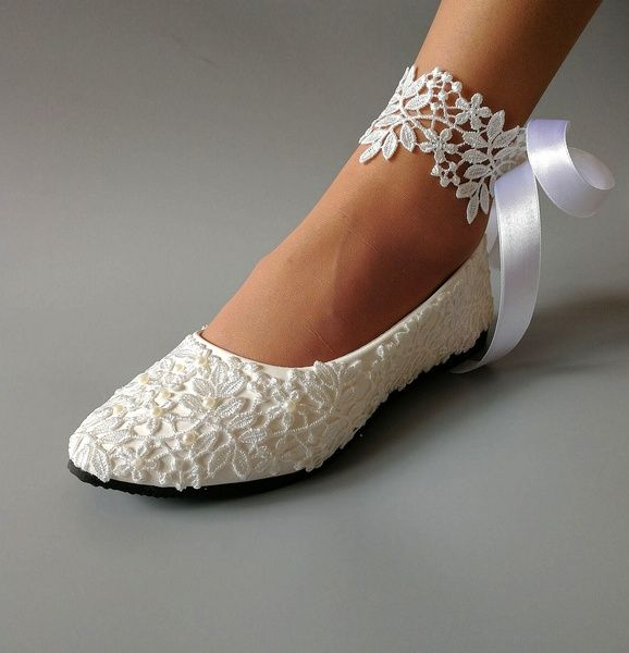 Handmade Women White Light Lvory Lace Bead Crystal Wedding Shoes Bridal Bridesmaid Shoes Heel Flat W Bridesmaid Shoes Wedding Shoes Heels Wedding Shoes Bride