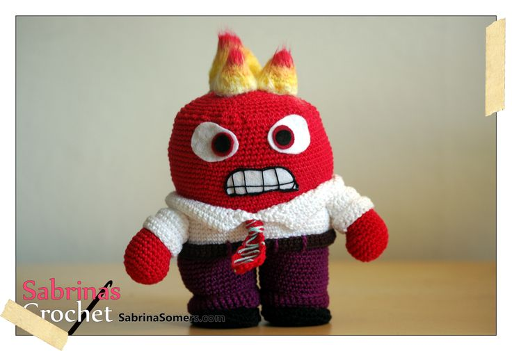 Sabrina's Crochet: Crochet pattern Anger (Inside Out)  Disney animation free amigurumi patterns