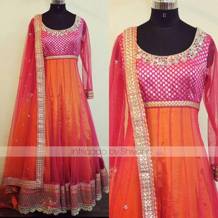 Pink-orange ombre anarkali with mirror work !! For enquiry/order your customized your outfit, drop an email at shivani@intricado.com or Inbox on facebook page www.facebook.com/intricado or Whatsapp at +918527463626  #anarkali #floorlengthanarkali #designeranarkali #indiandesigner #indianethnic #indiancouture #fashionblogger #fashion #wedmegood #pinkanarkali #indianattire #ombre #sangeet #mehendi #bridal #weddingoutfits #indianwedding #potd #instadaily #lotd #punjabiwedding #sangeetlook…