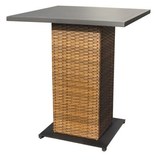 Miseno MPF-Lgnapubtable Southern California 35-1/2 Wide Aluminum Framed Outdoor Pub Table, Caramel Wicker, Outdoor Décor