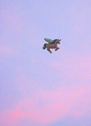 unicorn balloon/pink sky we can die happy.