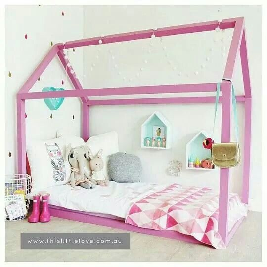Pink house shaped toddler bed by This Little Love, Australia.