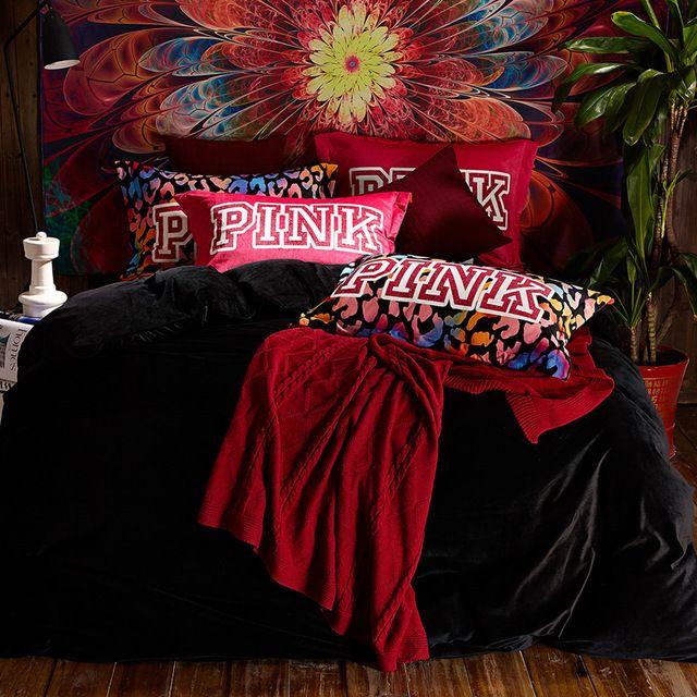 4 adet VS PEMBE yükseltilmiş kadife yatak yorgan set kraliçe siyah yorgan yastık ikiz tam geometrik baskı coverlet kapakları
