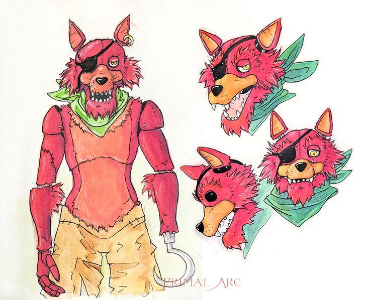 Original Foxy design, watercolour. #fnaf #fivenightsatfreddys