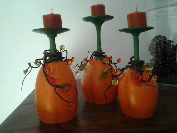 Pumpkin candle stick wine glass decor centerpiece
