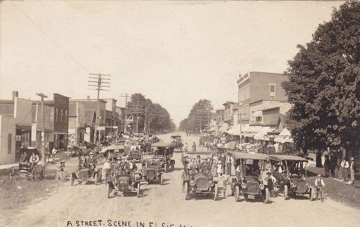 Rp Busy Main Street Elsie Michigan Pu 1912 Michigan Main
