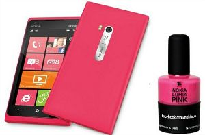 Nokia nail polish -- to match your smart phone, of course! {Would you?}: Releases Pink, Nokia Releases, Pink Nail Polish, Nokia Lumia 900 Nail Polish, Releases Nail, Pink Nails, Pink Lumia