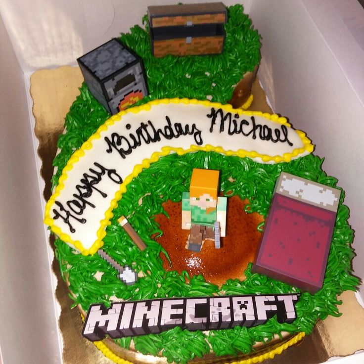 """After failing at finding somewhere that made Minecraft themed cakes I came up with my own idea. Number 6 shaped cake from Publix Bakery plus Minecraft toy figures = As my son described it """"Awesome!"""" Birthday Cake. 🎂"""