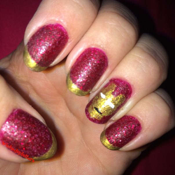 Fire Up the Arc Reactor- Iron Man Nail Art | Wicked Splatters