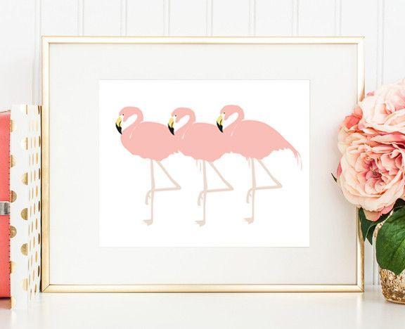 Three Flamingos print | Flamingo Poster | Pink Artwork