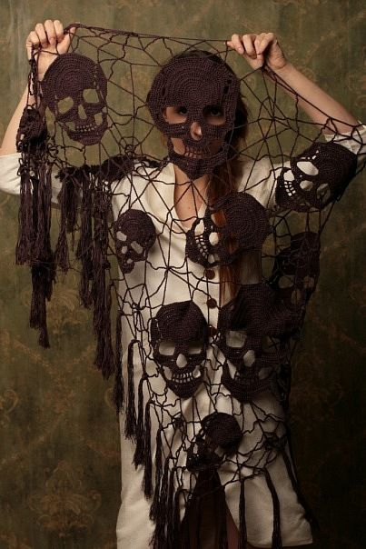 Crochet Skull Shawl: http://skullappreciationsociety.com/crochet-skull-shawl/ via @Skull_Society