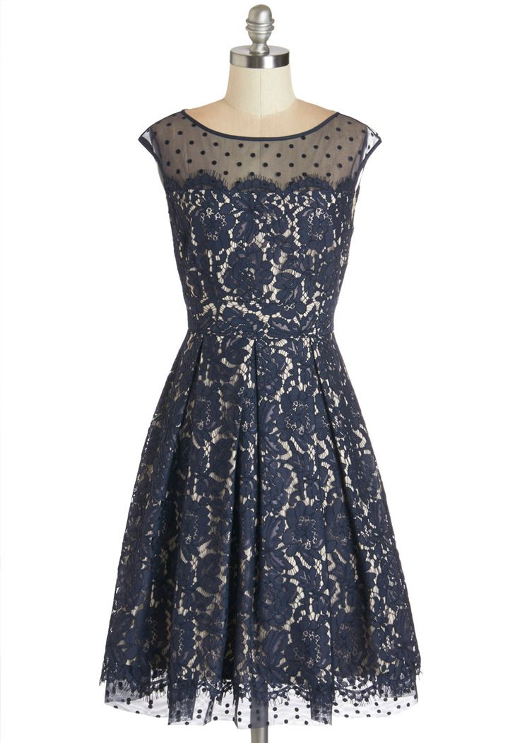 Chandelier to Ear Dress. Twirling across the ballroom in this lace party dress, you look as radiant as the sparkling candelabrum above you! This dress is gorgeous!