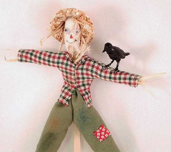 Fall or Halloween scarecrow character doll by AuntElliesMiniatures