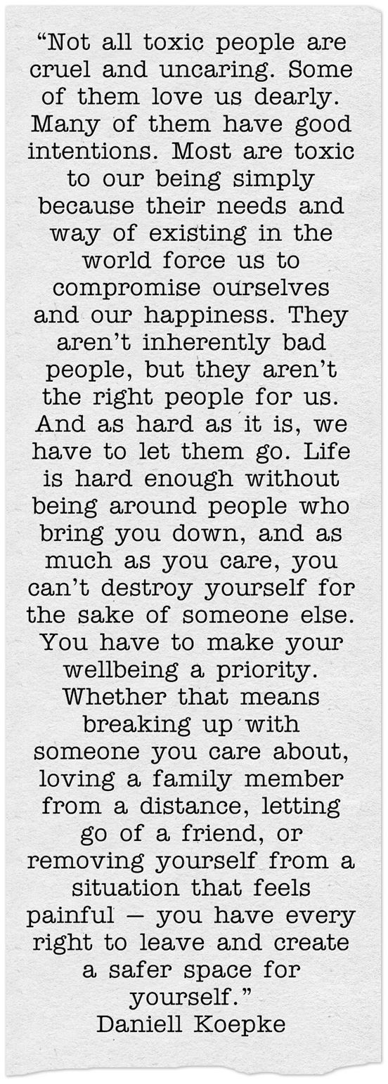 """As much as you care, you can't destroy yourself for the sake of someone else."""