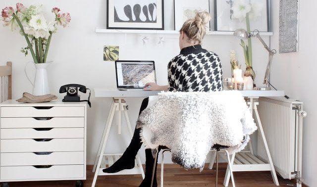 simple, white, workspace (via IKEA Magazine)