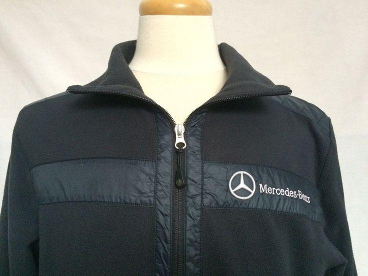 Mercedes-Benz Mens Light Jacket Coat Sz Large Full Zip Blue Black Long Sleeves  | eBay