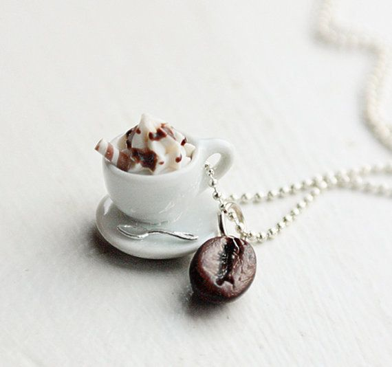 Cappuccino with Whip and Roasted Coffee Bean Food Necklace Miniature Food Jewelry - Food Jewelry